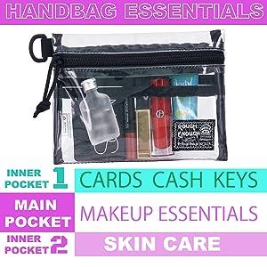 clear cosmetic bag for travel essentials skincare sunscreen hand cream lipstick foundation makeup