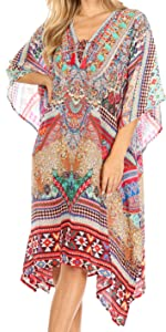 caftan top blouse tunic lounge loose short sleeve summer lightweight casual woman solid boho soft