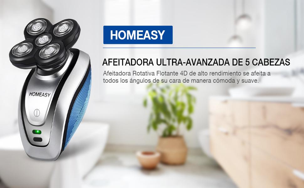 homeasy Afeitadora Eléctrica Cortapelos hombre con 5 Cabezas Flotantes de 4D con uso en seco/húmedo, USB Recargable ...