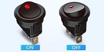 2 pi/èces 20A 12 V 3Pin rouge LED lumi/ère voiture Auto bateau rond interrupteur /à bascule marche-arr/êt Interrupteurs /à bascule