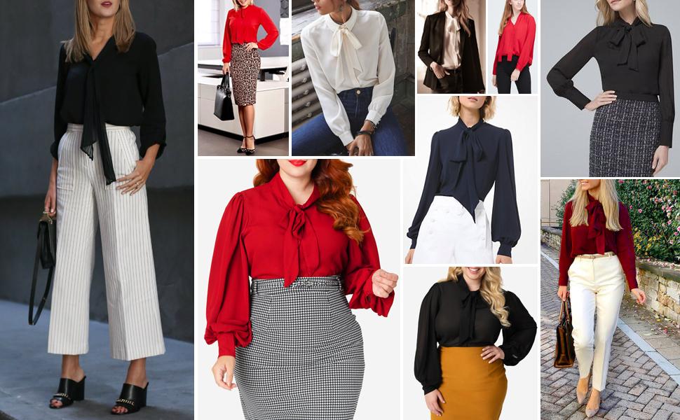 Women Plus Size Chiffon Short/Long Sleeve Bow Tie Blouse Top