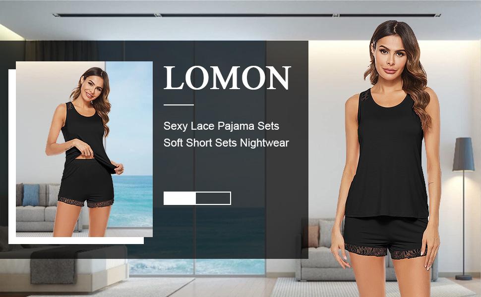 women short pajama set sexy tank shorts soft lace sleepwear pj cooling summer nightwear comfy gift