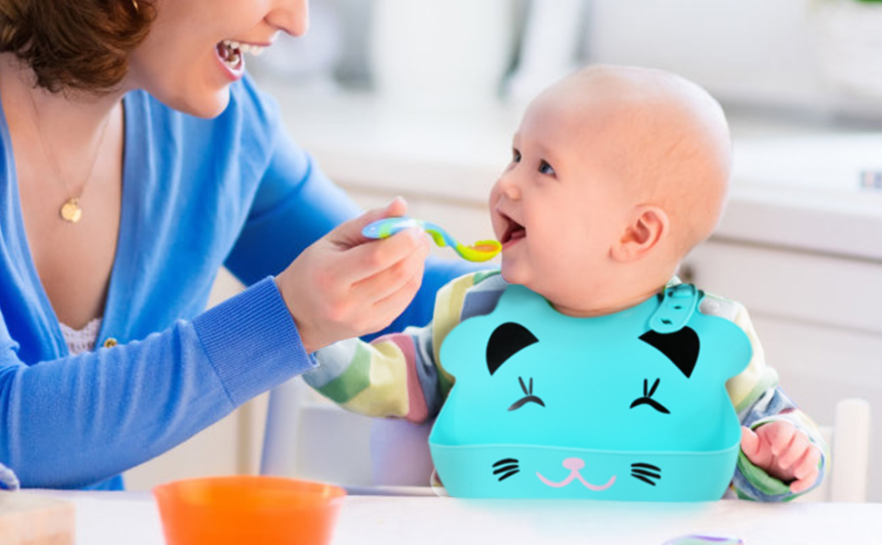 Feeding Bibs Silicone Adjustable Anti-choking Eccomum Baby Bibs Silicone Soft BPA Free Easy to Clean Unisex Bibs Waterproof 3pcs Bibs Newborn and Toddlers