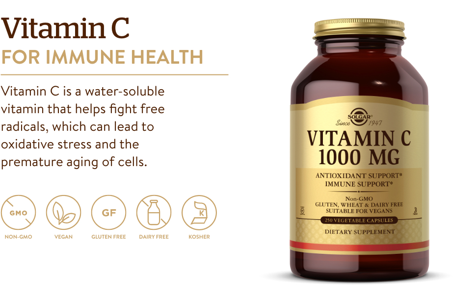 Vitamin C is a water-soluble vitamin that helps fight free radicals