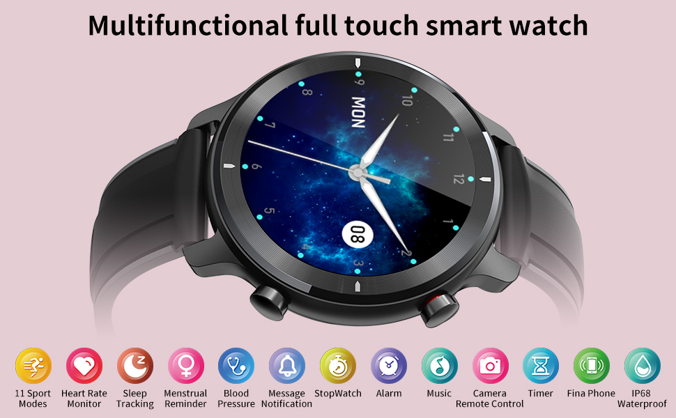 Multi functional full touch smart watch