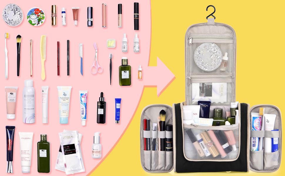 everything is organized when using hanging toiletry bag