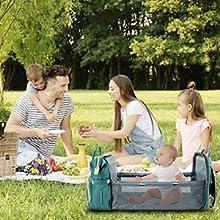 travel diaper bag bassinet