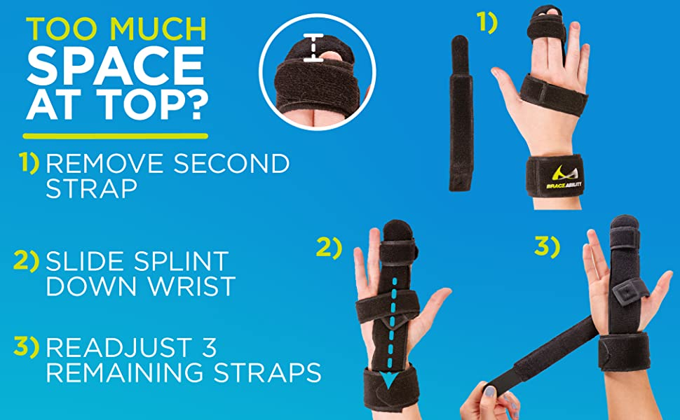 The index finger splint is very universal, if you feel brace is too long, slide the brace down hand