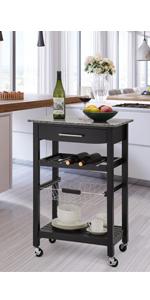 Kitchen cart black rolling island