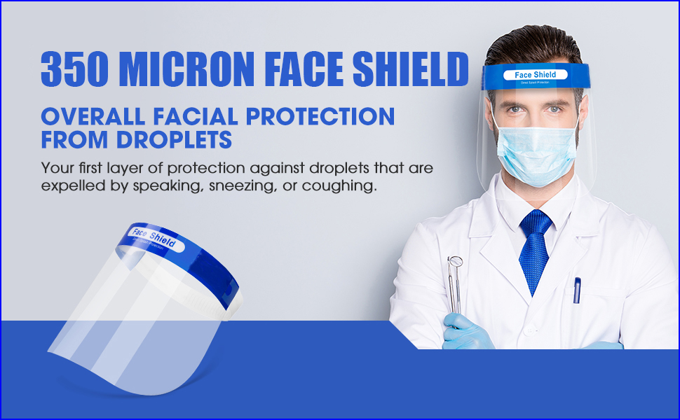 50 Micron Disposable Face Shield with Adjustable Elastic Strap Anti-Splash Single Use Facial Cover