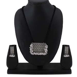 Silver Looklike PS celebrity choice threaded Dori Worked Necklace set