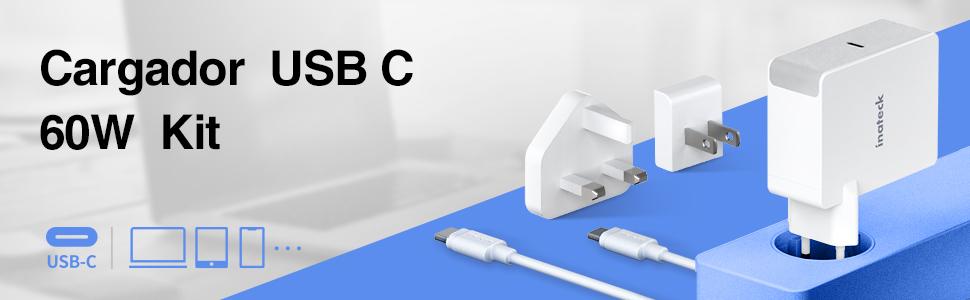 Inateck - Cargador USB C con Cable USB C de 2 m, Fuente de ...