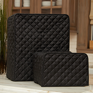 Two black kitchen appliance covers on a counter top