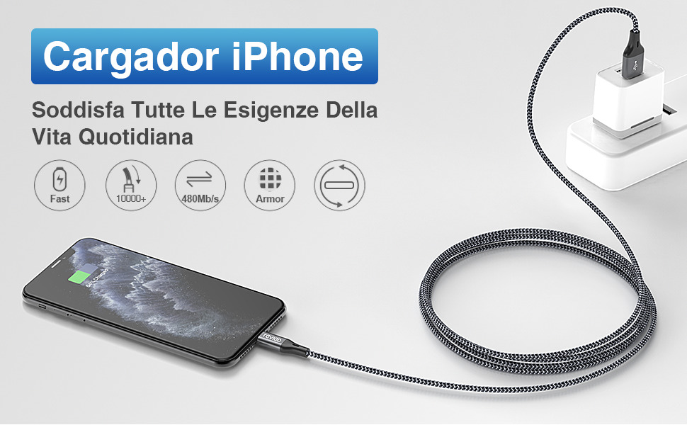 RAVIAD Cable Cargador iPhone [1.2M 4Pack] Cable Lightning Carga ...