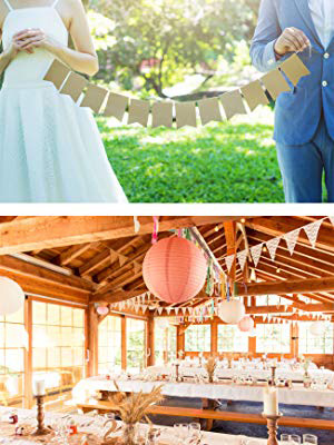 Plain Burlap Banner Flags for Wedding Party Holiday Graduation Decorations