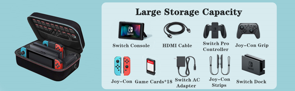 Carrying Storage Case for Nintendo Switch Console Pro Controller & Accessories