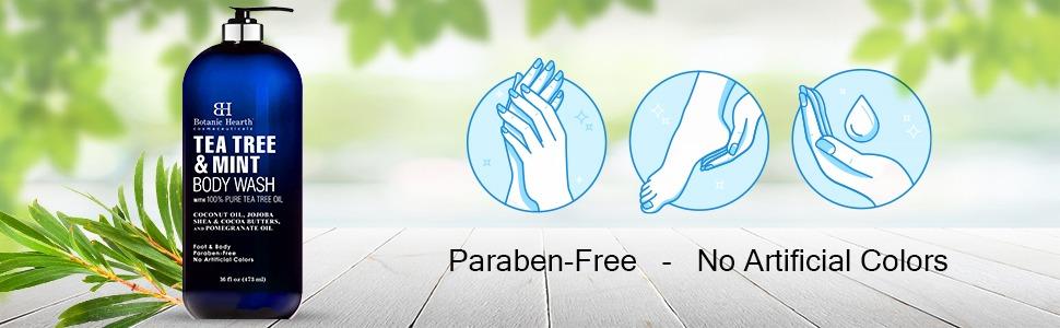 botamin hearth tea tree mint body wash atheletes foot jock itch dry skin rashes natural paraben free