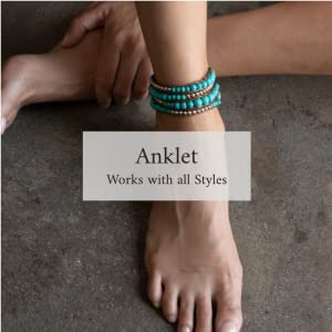 Female model wearing the River wrap as an anklet