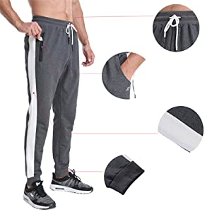 Men's Sports Pants Active Gym Track Slim Fit Zippered Pockets Jersey Jogger Hiking Training