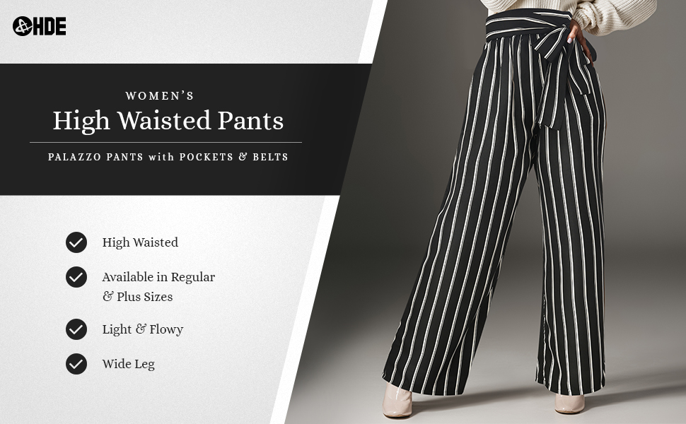 palazzo pants for women striped flowy pants dressy high waist pant paper bag pants belted pants