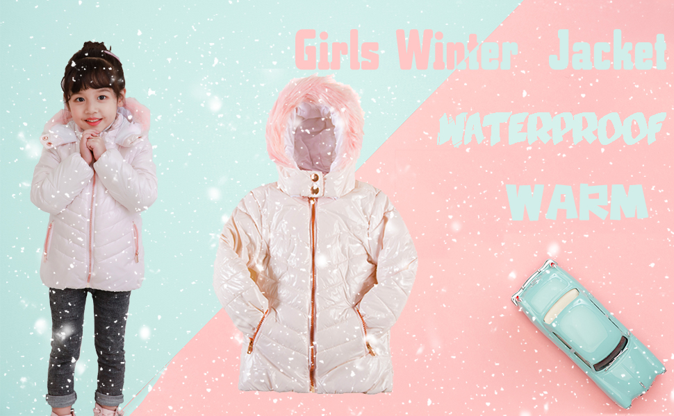 SNOW DREAMS Girls Winter Coats Bird Printed Fleece Lined Quilted Hooded Collar Puffer Quilted Jacket