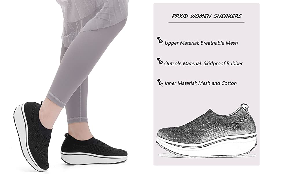 PPXID Womens Breathable Mesh Slip On Loafer Running Sneaker Casual Shoe