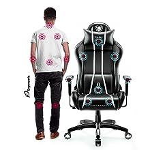 Diablo X-One 2.0 Sedia Gaming Ufficio Scrivania Braccioli Regolabili Design Ergonomico Cuscino Collo Lombare Bianco, S