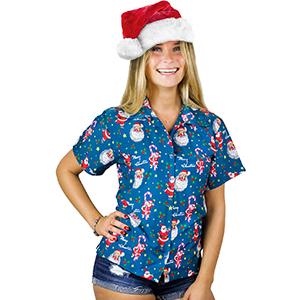 Christmas Hat X-Mas Women Blouse Hawaiian Santa Claus Theme Party