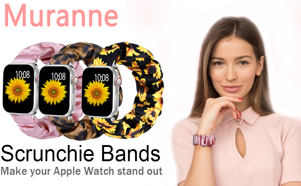 Muranne fashinable scrunchie bands are compatible for 2019 Apple Watch Series 5 4 / 3 / 2 / 1