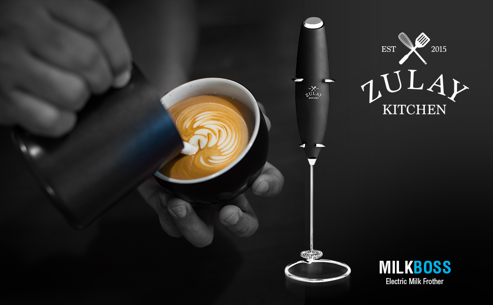 zulay kitchen milk frother handheld mixer latte coffee happiness home milk boss froth