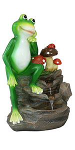 Front Porch or Deck Resin Mini Water Fountain Corded Electric -23-Inch Patio Sunnydaze Mindful Frog Outdoor Water Fountain Perfect Garden Decor Accent for Lawn