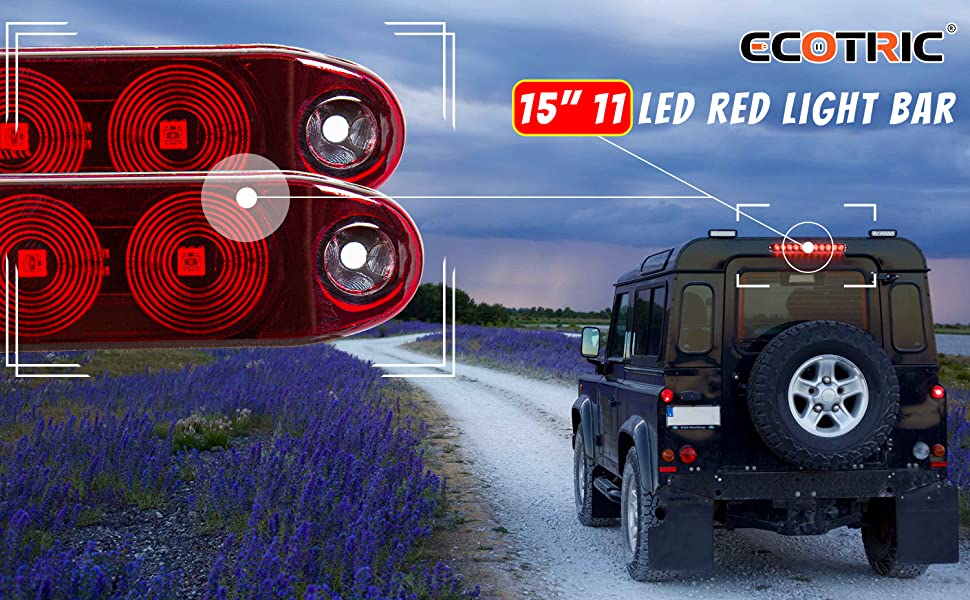 ECOTRIC 2PCS Red 15 11 LED Trailer Light Bar Sealed Stop Turn Rear Tail Park Third 3rd Brake Light Trailer Truck /& RV Marker Signal Waterproof