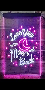 ADVPRO LED Neon sign light-ing Dual-color Lovers Valentines heart sweet I love you to the Moon Back