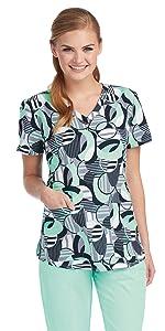 model wearing Women's Grey's Anatomy V-Neck Print Scrub Top