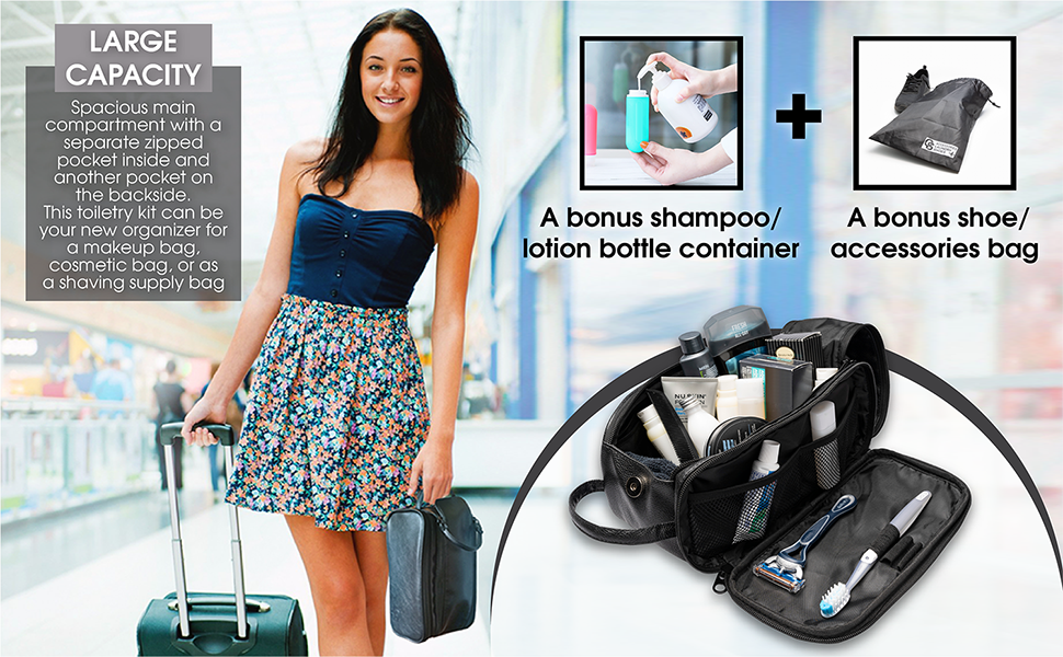 large capacity durable pu leather vegan toiletry organizer make up kit travel shaving dopp kit