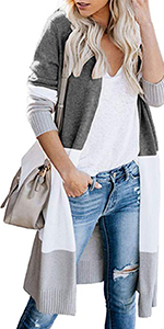 Colorblock Cardigan Sweaters for Women Lightweight Open Front Long Cardigan Sweaters