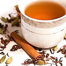 Green Tea Bags with Saffron Cinnamon Ginger Cardamom