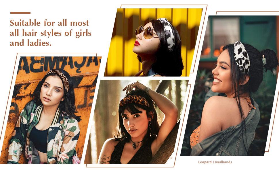 Belle Vous Diademas Leopardo Chicas 6 Piezas - Colores Cl/ásicos Cinta Pelo Anchas de Nudo 13x14cm Cabello Cintas Accesorio para Mujeres Suave Tela Turbante Diademas Mujer