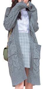 ロング カーディガン ニット コート ケーブル編み ポケット付き おしゃれ 羽 織り アウター 丈 上着 秋 冬 コーディガン お洒落 長袖 黒 ジャケット 服 ファッション