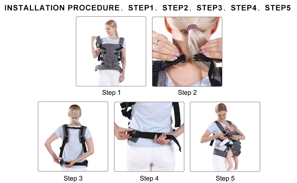 Baby Soft Carrier Multi-Functional Hug Strap for 7-45lbs(3-48 Months)Newborns and Baby. Ergonomic Design 4 in 1Infant Sling