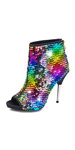 Women's Colorful Stiletto Ankle Boots Sequin Peep Toe Rear Zipper High Heels Short Booties