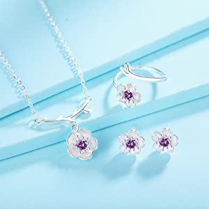 jewelry sets for women girls flower necklace earrings ring birthstone cubic zirconia crystal dainty