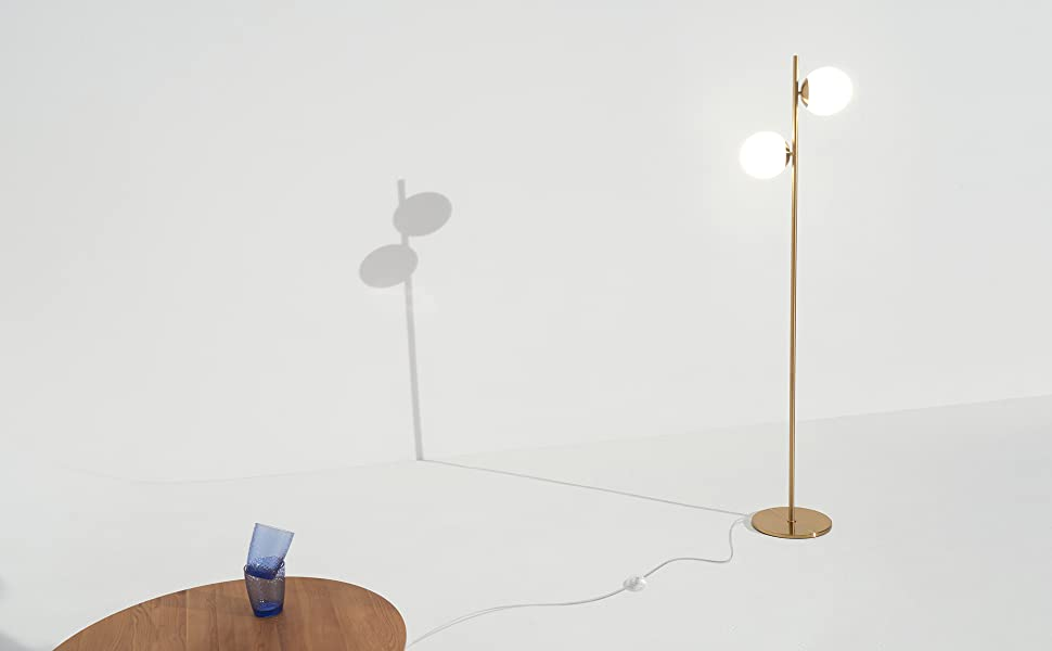 Bedroom- Bulbs Included- Antique Brass BT-FL-SPHR Office Contemporary Modern Frosted Glass Globe Lamp with Two Lights- Tall Pole Standing Uplight Lamp for Living Room Den Brightech Sphere LED Floor Lamp
