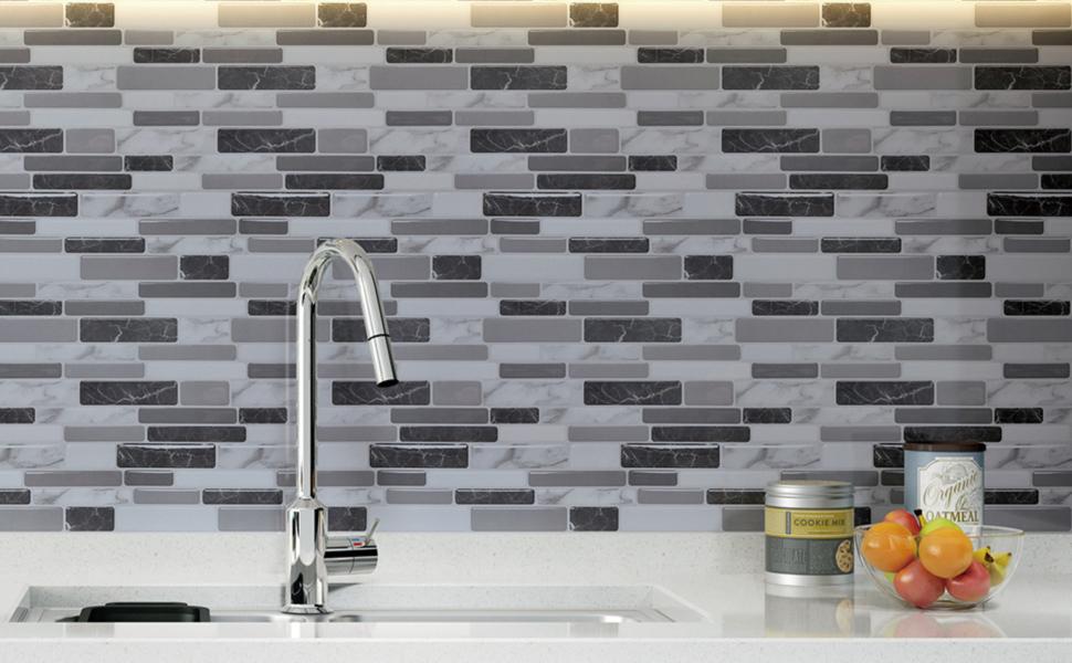 Art3d 12 X12 Peel And Stick Backsplash Tile For Kitchen Marble Grey 6 Sheet Amazon Com