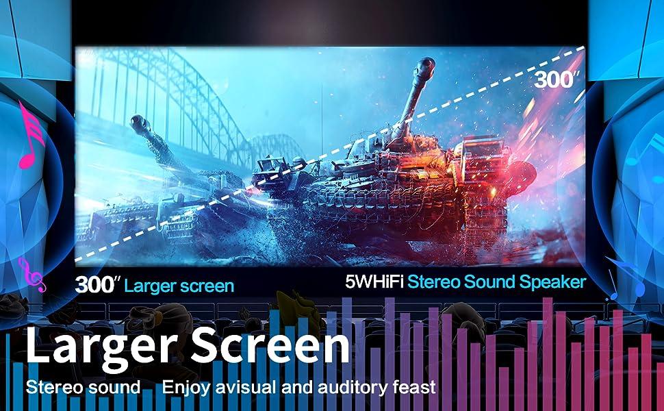 300 inches larger mega screen projector