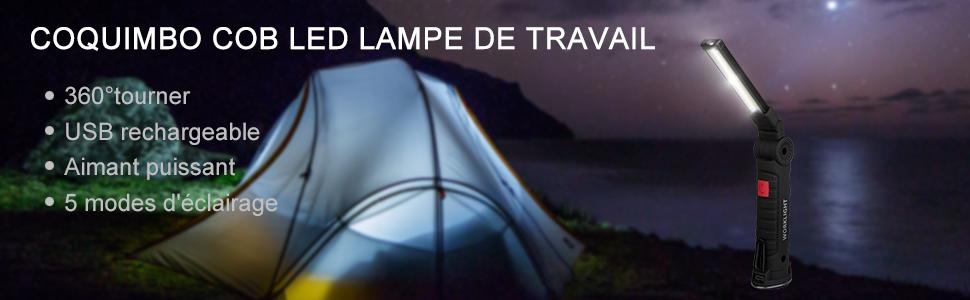 Travail Lampe 72 LED avec crochet tourne aimant Lampe Atelier Lampe Lampe Camping