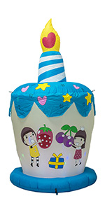 6 Feet Tall Cute Inflatable Happy Birthday Cake with Candle Blow Up