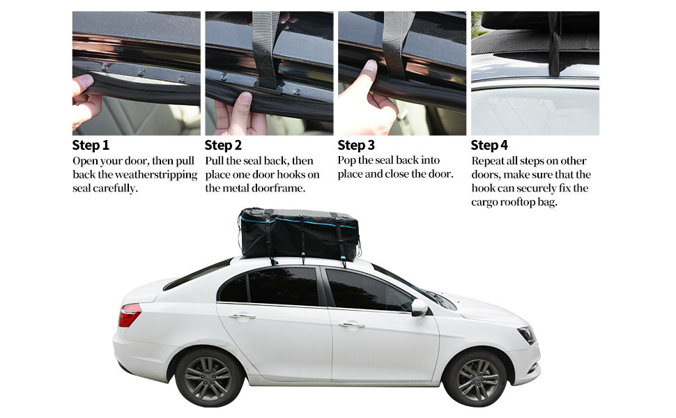 LEDKINGDOMUS Rooftop Cargo Bag 600D with PVC Coating Roof Top Bag for All Cars with//Without Rack Waterproof 19cft Truck Pickup Cargo Carrier Includes 6 Bungee Hooks//6 Door Hooks//Anti-Slip Mat//Lock