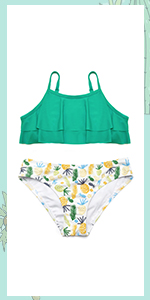 SHEKINI Costumi da Bagno Bambine Due Pezzi Carino Stampati Triangolo Bikini Regolabile Halter Costume Ragazze Due Pezzi Belle Ragazze Swimwear Stile per 6-14 Anni