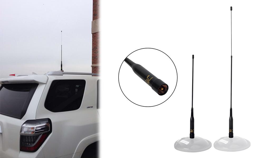 HYS Tri-Band VHF UHF 137-174//180-260//400-480MHz 100W 20inch 2.15dBi//5.2dBi PL-259 UHF Male Soft Telescopic Antenna for Yaesu Kenwood Motorola Taxi Bus Vehicle Amateur Ham Mobile Radio Transceiver